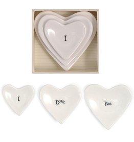 East of India Porcelian 3pc Stackable Heart Dish Keepsake I Love You E2071 East of India