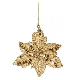 Winward Christmas Decor Mosaic Gold Christmas Poinsettia Ornament