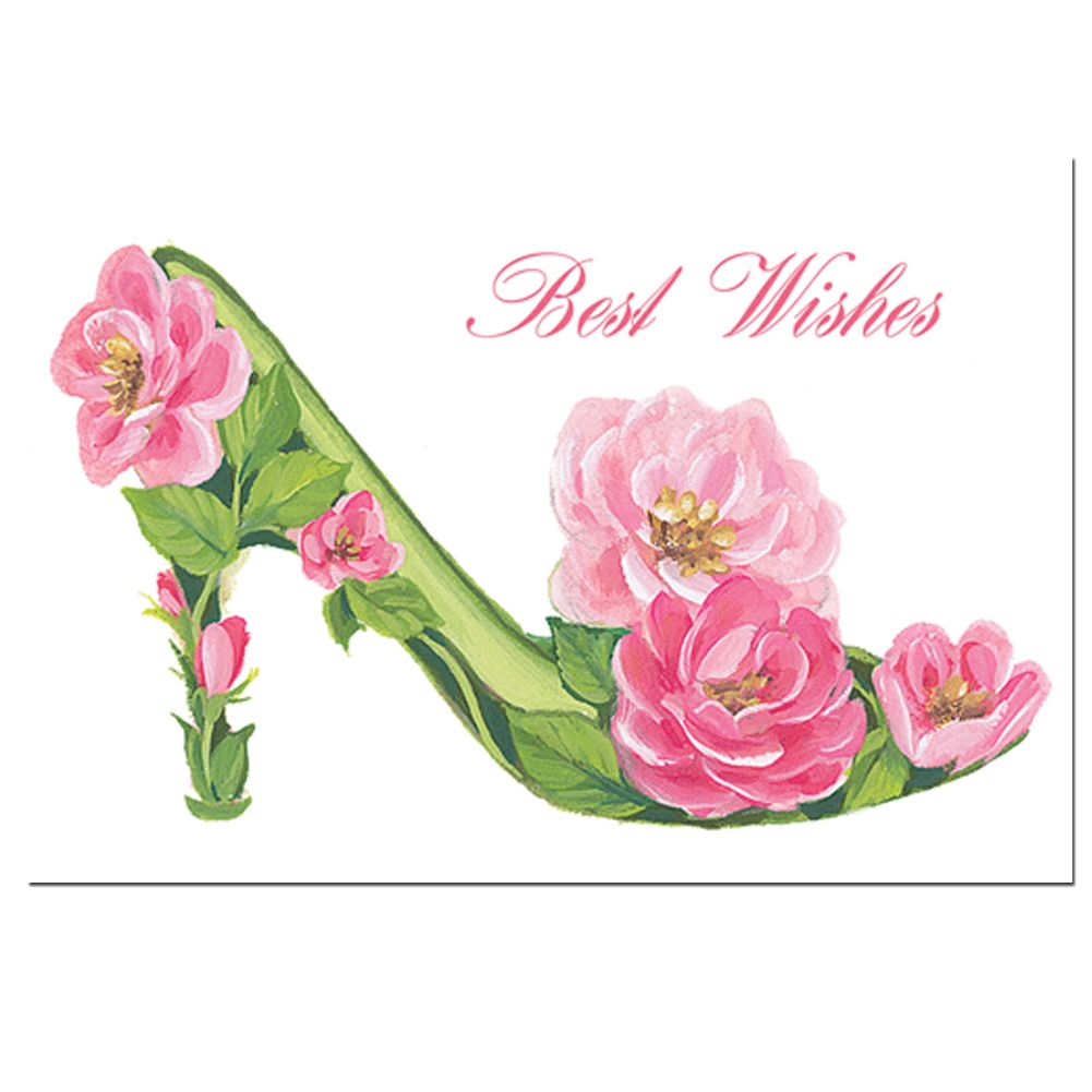 caspari wedding shower card roses shoe best wishes 84474 caspari