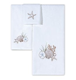 C & F Enterprises Bath Towels Set Bath Hand and Tip Loop Weave Towel Set - Beach Shells