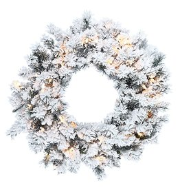 Kurt Adler Wreath Pre-Lit Flocked Norway Pine Wreath w Clear Lights
