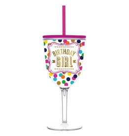 Slant Birthday Girl Acrylic Wine Glass w Lid and Straw by Collection