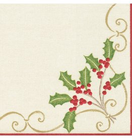 Caspari Paper Linen Airlaid Dinner Napkins Christmas Embroidery 12pk