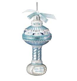 Kurt Adler Babys First Christmas Glass Baby Rattle Ornament NB0894-B Baby Boy