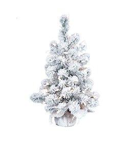 Kurt Adler Christmas Tree Pre-Lit 2 FT Flocked Tree w Clear Lights