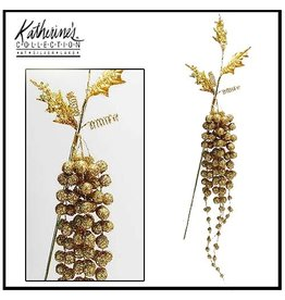 Katherine's Collection Christmas Flowers Florals 11-32484 Gold Sparkle Berry Drop