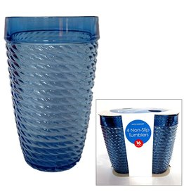 Boston Warehouse Non-Slip Blue Acrylic Blue Rope Design Tumblers 16oz