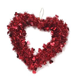 Darice Valentine Heart Wreath 14 inch Metalic Red Tinsel w Red Hearts 1646-94