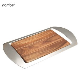 Nambe Mikko Bar Tray 19x11 MT0215 Wood and Stainless