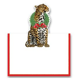 Caspari Christmas Place Cards Tent Style 8pk Wild Christmas Leopard 83925P