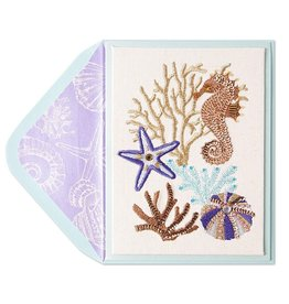 Papyrus Greetings Blank Card Couture Beaded Sealife by Papyrus
