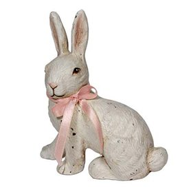 Bethany Lowe Designs Vintage White Bunny w Ribbon 4.75 Inch