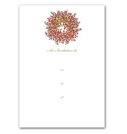 Caspari Holiday Party Invitations Foil Embossed Pepperberty Wreath Invites 8pk