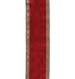 Caspari Ribbon  R714 Solid Red w Gold Edge Ribbon 9 yrds