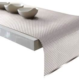 Harman Platinum Vinyl Table Runner w Metal Accent 12x72 Inch Whitev