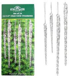 Kurt Adler Glass Icicle Ornaments Clear Twist Set of 24 W3730 Kurt Adler