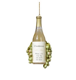 Kurt Adler Christmas Ornaments Wine Bottle With Grapes Ornament Chardonnay