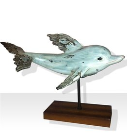 North Star Premier Nautical Home Decor Swimming Dolphin on Wood Base 11W