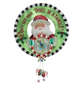 Mary Engelbreit Santa Time Metal Wreath Wall Hanging Decoration 18.5in