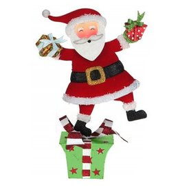 Santa on Gift Tablepiece Decor 13H inch 25-48832-A