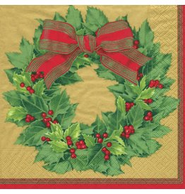Caspari Paper Dinner Napkins Christmas 12071D Holly Wreath 20pk GLD