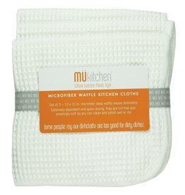 MUkitchen Microfiber Waffle Cloths 3pk 12x12 6638-0901 White