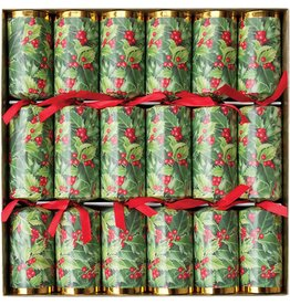 Caspari Christmas Crackers CK035.12 Set of 6 Holly Christmas 12.5in Crackers