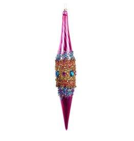 Kurt Adler Glass Bohemian Pink w Beads Icicle Ornament T1434-A Kurt Adler