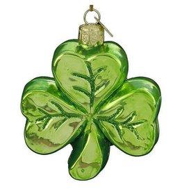 Kurt Adler Noble Gems Irish Glass Shamrock Ornament 3.25 inch