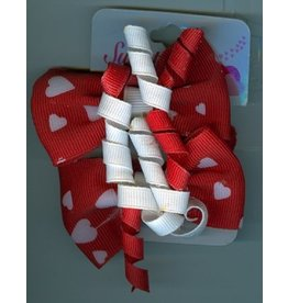 DM Merchandising Valentine's Gifts | PPVAL144O Red Ribbon Double Hair Ties