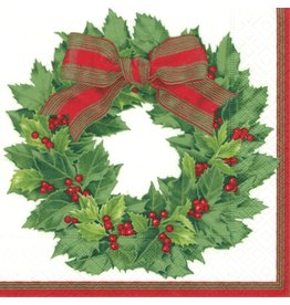 Caspari Paper Dinner Napkins Christmas 12070D Holly Wreath 20pk