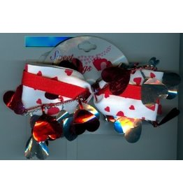 DM Merchandising Valentine's Gifts | PPVAL144J White ribbon bow with foil hearts hair clip