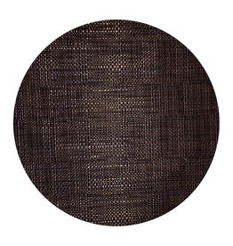 Harman Trace Basketweave Round Placemat Vinyl 14 Inch Black