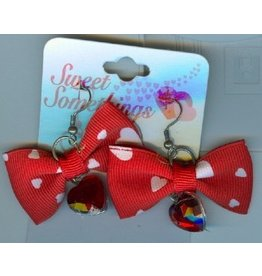 DM Merchandising Valentines Gifts PPVAL144H Red Bows Hearts Earrings