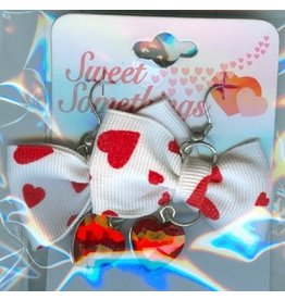 DM Merchandising Valentines Gifts PPVAL144G White bow with hanging heart earrings