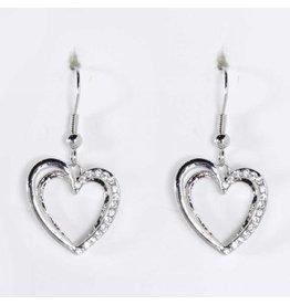 K&K Interiors Jewelry Earrings Silver Crystal Heart Earrings