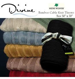 Divine Bamboo Cable Knit Throws 80917 Black Truffle
