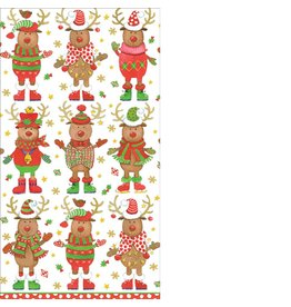 Caspari Christmas Paper Guest Napkins 15pk 12000G Sweater Party Reindeer