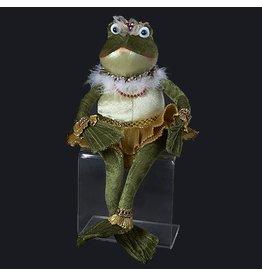 Kurt Adler Plushed Stuffed Animal Sitting Frog Princess in Gold Tutu