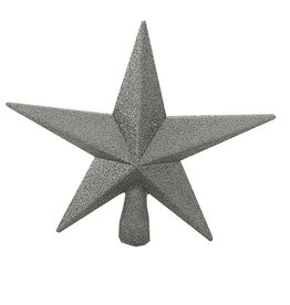 Kurt Adler Christmas Star Tree Topper Shatterproof 8IN Glittered Silver