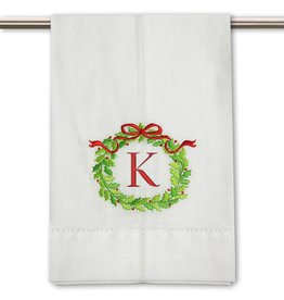 Peking Handicraft Monogramed Christmas Wreath Guest Towel Embroidered Letter K
