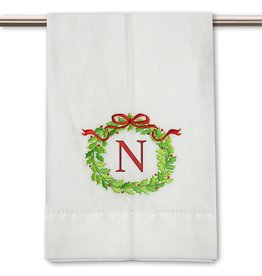 Peking Handicraft Monogramed Christmas Wreath Guest Towel Embroidered Letter N