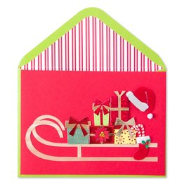 Papyrus Greetings Christmas Card Santa Sled with Gifts by Papyrus