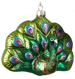 Kurt Adler Glittered Glass Peacock Ornament C6314-B Kurt Adler