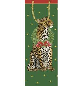 Caspari Christmas Wine Bottle Gift Bag 95950B4 Wild Christmas Leopard
