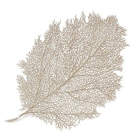 Harman Metallic Leaf Fan Coral Placemat 14x22 Inch Champagne