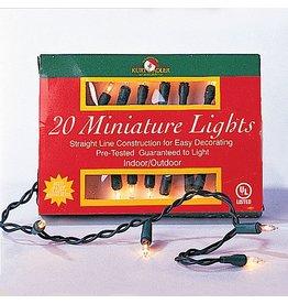 Kurt Adler Christmas Lights 20 Clear Miniature Tree Lights Set Green Wire