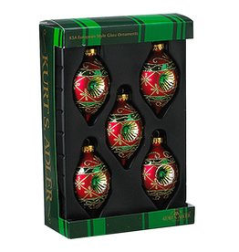 Kurt Adler Red and Green Decorated Glass Reflector Drop Ornaments Set 5 3.5