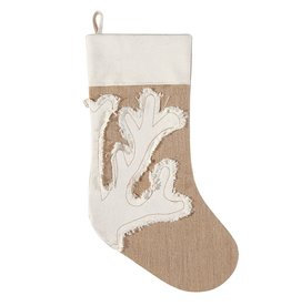 C & F Enterprises Coastal Christmas Stocking Burlap w Coral 20L inch