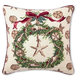 Peking Handicraft Coastal Christmas Pillow Beach Needlepoint Pillow 14x14 by S Nicoll